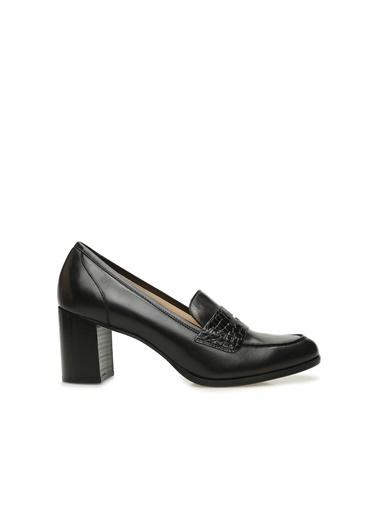 Divarese 5024283 Bantlı Deri Topuklu Kadın Ayakkabı Siyah